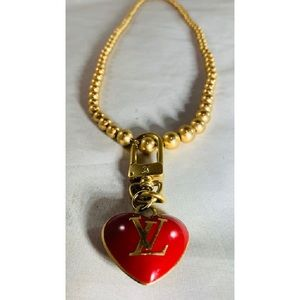 Repurposed LOUIS VUITTON Heart Charm Necklace